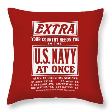 Your Country Needs You In The Us Navy Throw Pillow by War Is Hell Store