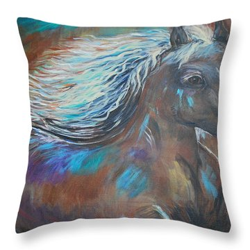 Throw Pillow featuring the painting Your Majesty by Leslie Allen