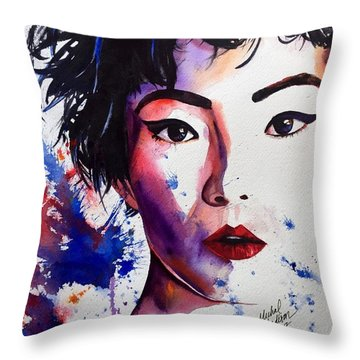 Throw Pillow featuring the painting You're A Firework  by Michal Madison
