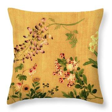 Yuan's Hundred Flowers Throw Pillow