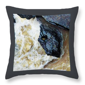 Yuba Blue Boulder In Stormy Waters Throw Pillow
