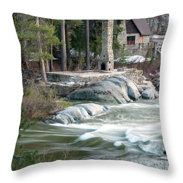 Yuba River At Rainbow Lodge Throw Pillow