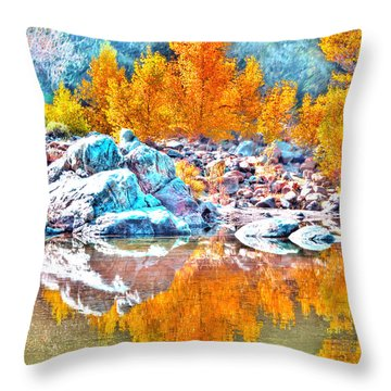 Yuba River Fall Reflection Throw Pillow