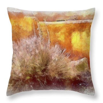 Yucca And Adobe In Aquarelle Throw Pillow