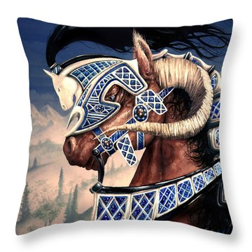 Throw Pillow featuring the painting Yuellas The Bulvaen Horse by Curtiss Shaffer