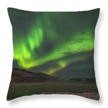 Throw Pillow featuring the photograph Yukon Northern Lights 4 by Phyllis Spoor