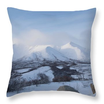 Throw Pillow featuring the photograph Yukon Snow Scene Mystic by Phyllis Spoor