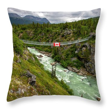 Yukon Suspension Bridge Throw Pillow