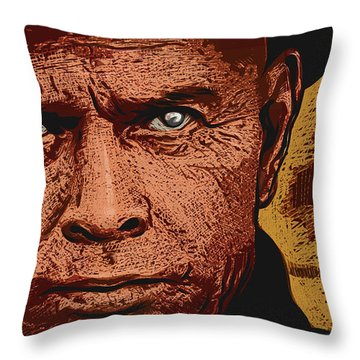 Throw Pillow featuring the digital art Yul Brynner by Antonio Romero