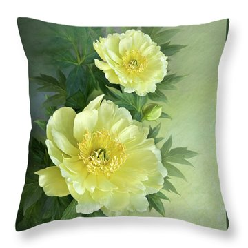 Throw Pillow featuring the digital art Yumi Itoh Peony by Thanh Thuy Nguyen