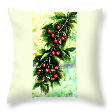 Yummy Cherries Throw Pillow