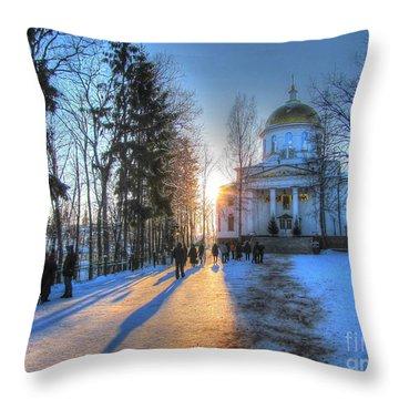 Yury Bashkin Russian Church In Winter Throw Pillow by Yury Bashkin