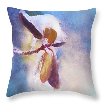 Winter Abstract - Snow And Ice On Rhododendron Leaves Throw Pillow