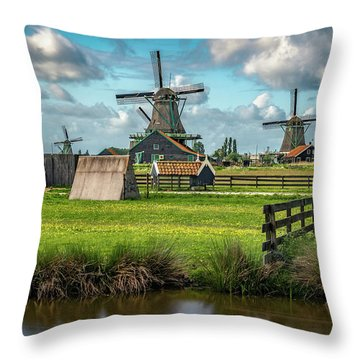 Zaanse Schans And Farm Throw Pillow by James Udall