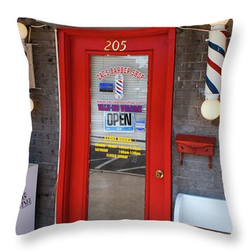 Zacs Barber Shop Throw Pillow
