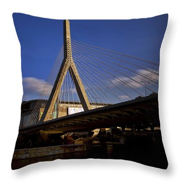 Zakim Bridge And Boston Garden At Sunset Throw Pillow by Rick Berk