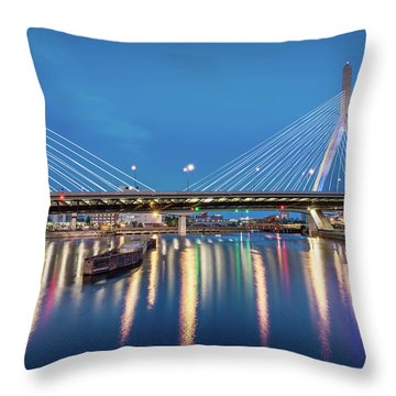 Zakim Bridge And Charles River At Dawn Throw Pillow