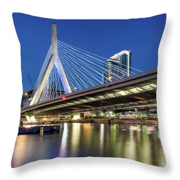 Zakim Bridge And Charles River Throw Pillow