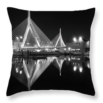 Zakim Bridge From Lovejoy Wharf Throw Pillow