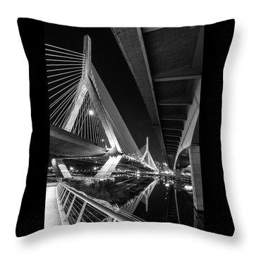 Zakim Bridge From Under The Leverett Connector Bridge Throw Pillow
