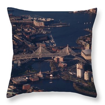 Zakim Bridge In Context Throw Pillow by Rona Black