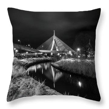 Zakim Bridge Reflecting Under A Moody Sky Throw Pillow