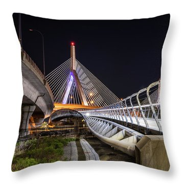 Zakim Bridge Walkway Throw Pillow