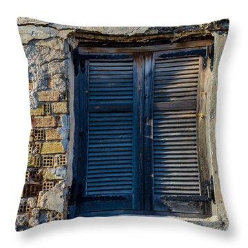 Zakynthos Town Window Throw Pillow