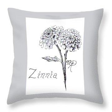Zannie Zinnia Throw Pillow