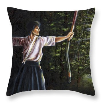 Throw Pillow featuring the painting Zanshin by Hiroko Sakai