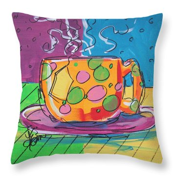 Zany Teacup Throw Pillow