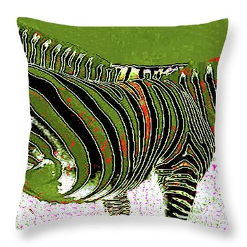 Throw Pillow featuring the photograph Zany Zebra - Digitally Modified Photograph by Merton Allen