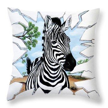 Zany Zebra Throw Pillow