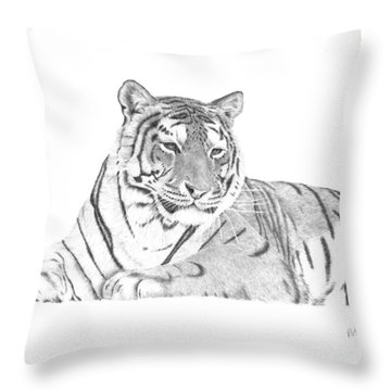 Zarina A Siberian Tiger Throw Pillow by Patricia Hiltz