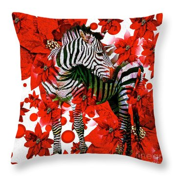 Zebra And Flowers Throw Pillow