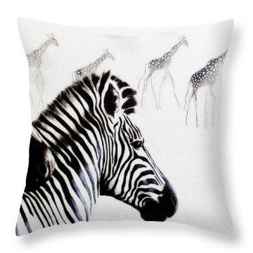 Zebra And Giraffe Throw Pillow