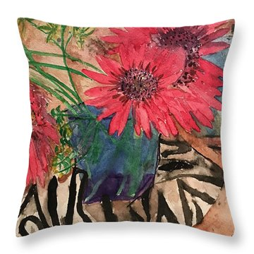 Zebra And Red Sunflowers  Throw Pillow