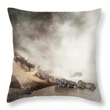 Zebra And Wildebeest Migration In Africa Throw Pillow