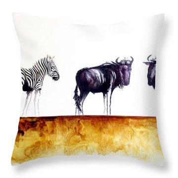 Zebra And Wildebeest Throw Pillow