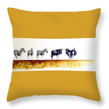 Zebra And Wildebeest Throw Pillow