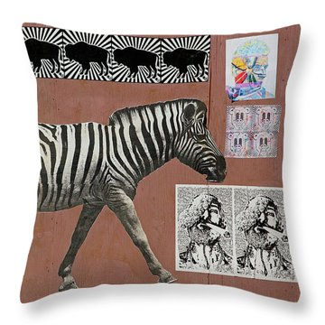 Throw Pillow featuring the photograph Zebra Collage by Art Block Collections