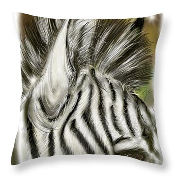 Zebra Digital Throw Pillow by Darren Cannell