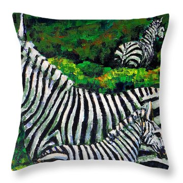 Zebra Family Throw Pillow by Shirley Heyn