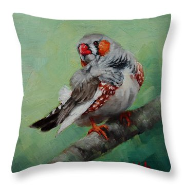 Zebra Finch Miniature Throw Pillow