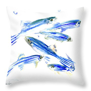 Zebra Fish, Danio Throw Pillow