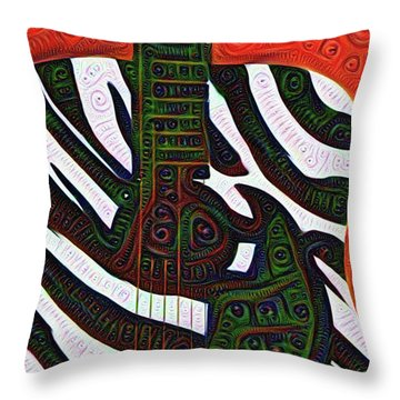 Zebra Guitar Rendering Throw Pillow by Bill Cannon