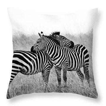 Zebra Hug Throw Pillow