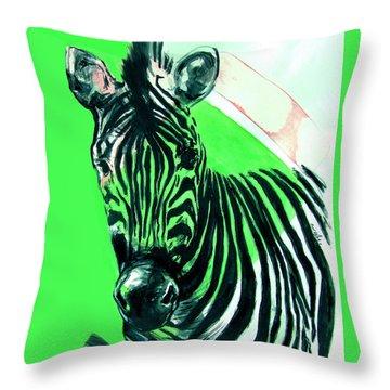 Zebra In Green Throw Pillow