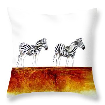 Zebra Landscape - Original Artwork Throw Pillow