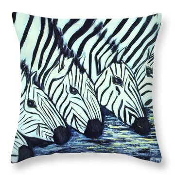 Throw Pillow featuring the painting Zebra Line by Donna Dixon